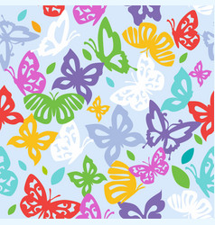 multicolored butterflies on a light background vector image