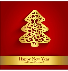 New Year greeting card with gold silhouette of vector
