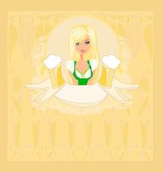 Oktoberfest waitress card vector image