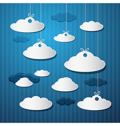 Paper Clouds With Strings on Blue Background vector image
