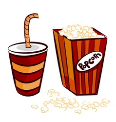 Popcorn and coke cup vector