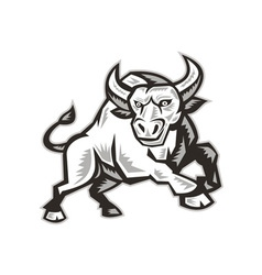 Raging Bull Attacking Charging Woodcut vector image