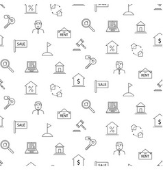 Real estate black and white icon seamless pattern vector