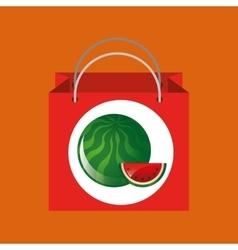 Red package juicy watermelon fruit vector