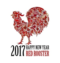 Red rooster symbol of 2017 on the Chinese vector image