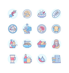 restaurant menu - modern line design style icons vector image