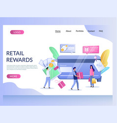 retail rewards website landing page design vector image