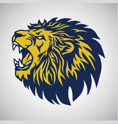 roaring lion logo blue yellow template vector image