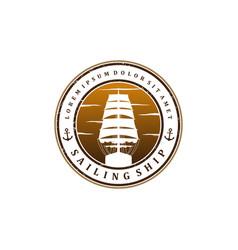 Sailing ship logo design - vintage logo vector
