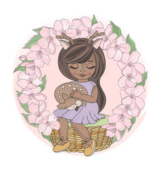 Sakura girl floral wreath animal vector