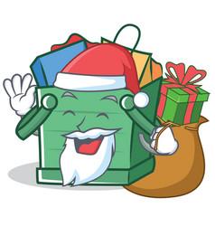 santa shopping basket character cartoon vector image