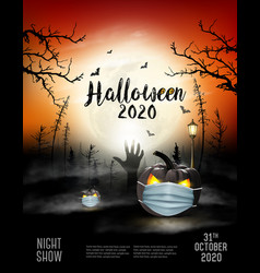 Scary holiday halloween background with pumpkins w vector