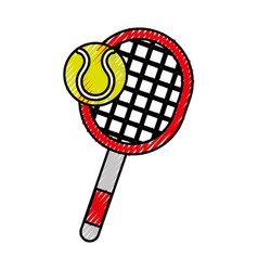 scribble tennis racket and ball cartoon vector image