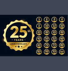 set golden anniversary emblems labels design vector image