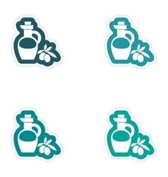 Set of paper stickers on white background olive vector