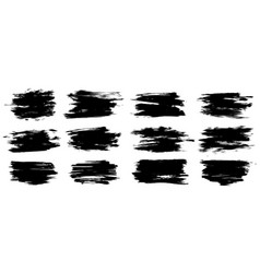 set thick brush strokes vector image