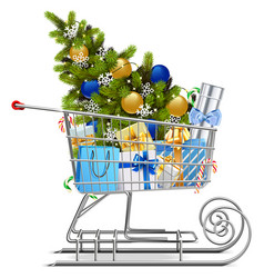 Shopping sled with christmas decorations vector