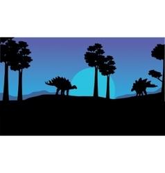 Silhouette of stegosaurus blue sky scenery vector