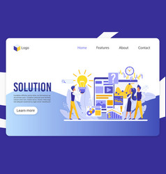 Solution innovative decision landing page vector