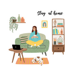 Stay at home young woman sitting on sofa vector