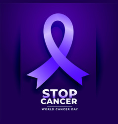 Stop cancer poster for world cancer day vector