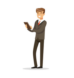 successful businessman standing and holding a vector image