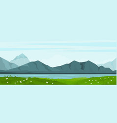 summer landscape with lake and mountains vector image