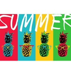 Summer pineapple color design with hipster glasses vector
