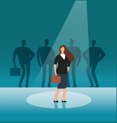 Talented businesswoman standing in searchlight vector