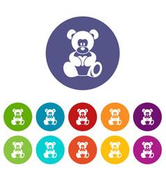 teddy bear holding a heart icons set flat vector image