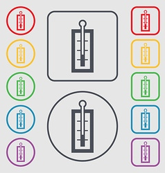 Thermometer icon sign symbol on the Round and vector