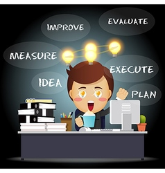 Thinking businessman working with idea bulb vector image