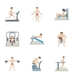 Types of exercises in gym icons set cartoon style vector