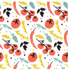 Vegetable pattern with tomatoes vector