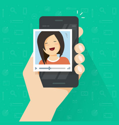 Video call on smartphone flat cartoon vector