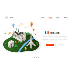 visit france - modern colorful isometric web vector image