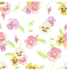 watercolor pansy flower seamless pattern on white vector image