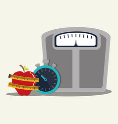 weight scale chronometer fruit lose vector image