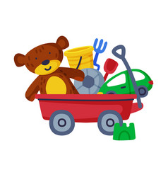 wheeled box batoys bucket car teddy bear vector image