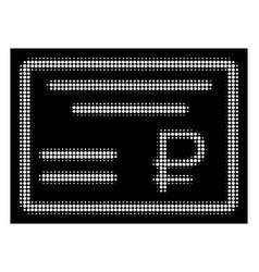 white halftone rouble cheque icon vector image