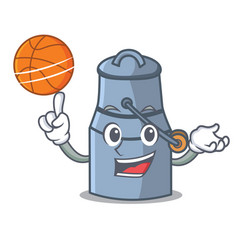 with basketball milk can character cartoon vector image