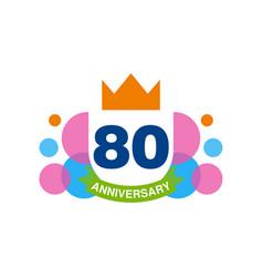 80th anniversary colored logo design happy vector image vector image