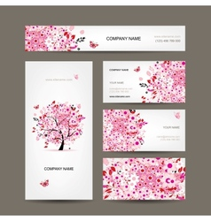 Business cards design with floral tree pink vector image