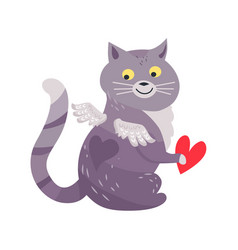 cat with angel wings holding red heart isolated vector image