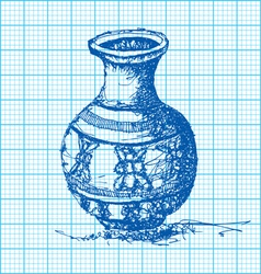 drawing of jar on graph paper vector image vector image