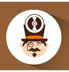 man hipster standing with music disk vector image