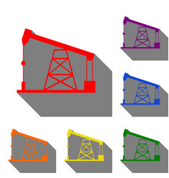 oil drilling rig sign set of red orange yellow vector image