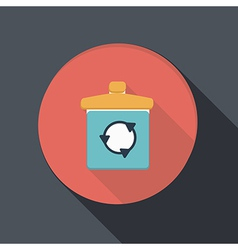 paper flat icon with a shadow basket garbage vector image