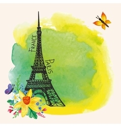 Paris Eiffel towerWatercolor spotNarcissus vector image