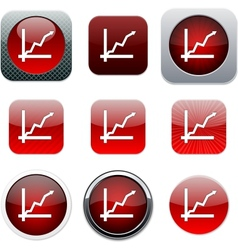 Positive trend red app icons vector image vector image